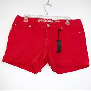 Express | Red Jean Shorts